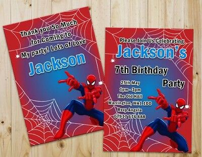 PERSONALISED MALE SUPERHEROES PARTY INVITATIONS,THANK YOU CARDS