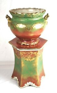 Rare Antique 19th C Wheeling Pottery Jardiniere Pedestal Planter Green Red Gold