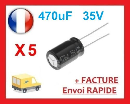 5 condensateurs chimique électrolytique 470µF 470uF 35V radial WH 105°C THT
