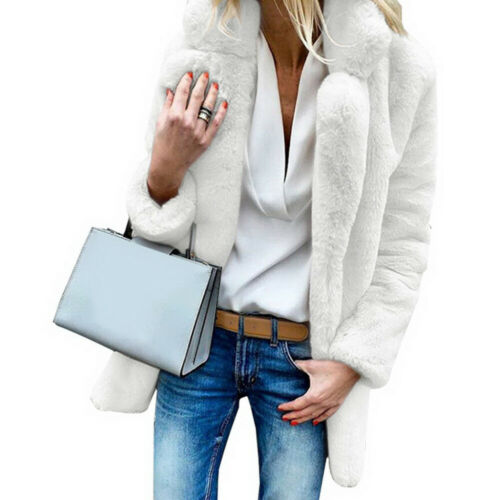 Womens Faux Fur Cardigan Thick Winter Casual Fluffy Coat Jacket Overcoat Outwear