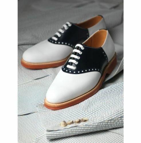 Homme Fait à la main Chaussures Noir & Blanc Smoking classique formelle porter   Décontractée Bottes