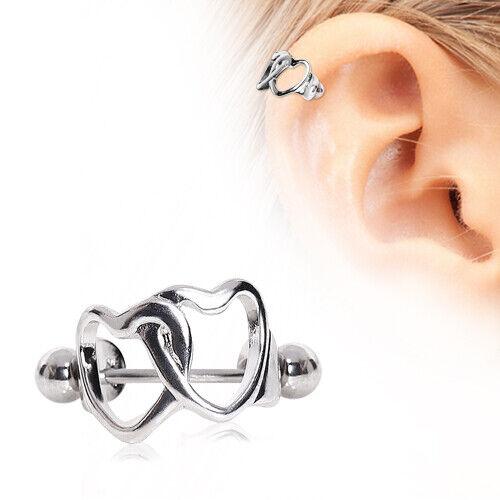 C0043 Coeur ou Étoile Cartilage Upper Oreille Percée Bijou Boucle d/'oreille Helix Bar Vendeur Britannique