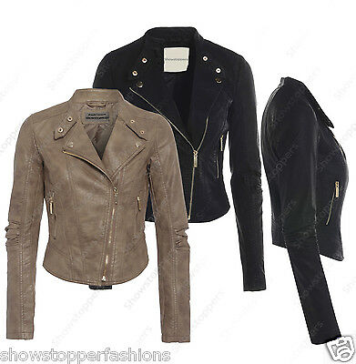 NEW Womens BIKER JACKET Crop FAUX LEATHER Ladies ZIP Coat Size 8 10 12 14