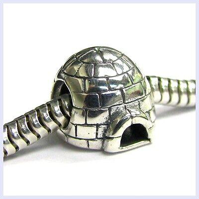 Sterling Silver Eskimo Ice House Home Igloo Bead for European Charm Bracelets