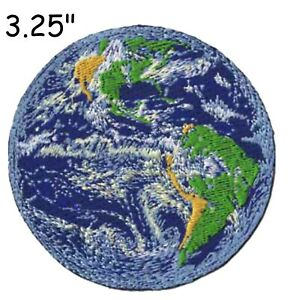 """3.25"""" World Planet Earth Embroidered Patch iron-on / Sew-On Nature Gift Applique"""