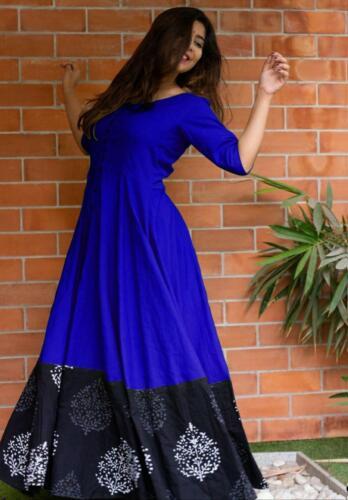 Soft Rayon Border Less Casual Indian Wedding Wear Long Gown Women/'s Wear KZPU 34