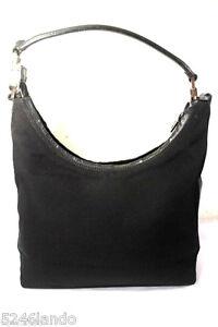 379eaebc06e Image is loading Vintage-GUCCI-Black-Nylon-amp-Leather-Hobo-Shoulder-