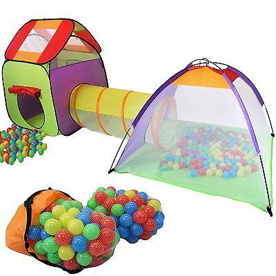 KIDUKU® Spielzelt + 200 Bälle + Tunnel + Tasche Kinderzelt Bällebad Haus Iglu