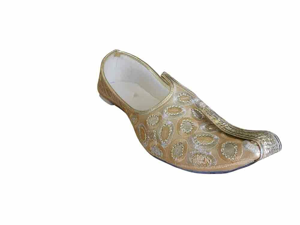 Men shoes Traditional Jutti Handmade Wedding gold Mojari Khussa Loafers US 6-12
