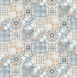 Valencia Orange Blue Spanish Morrocan Tile Mosaic Wallpaper Debona