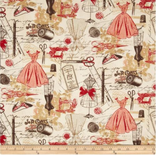 Timeless Treasures Vintage Sewing Fabric Sold by HALF of a METRE W44/""