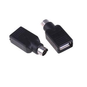2x-USB-hembra-en-adaptador-convertidor-macho-para-PS2-Raton-de-teclado-comput-PD