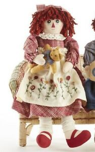 NEW-Primitive-Country-Rustic-Rag-Doll-W-Embroidered-Flower-Apron-amp-Teddy-Bear