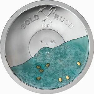 2021-Gold-Rush-Pan-Concave-5-50g-Pure-Silver-Blue-Enamel-Gold-Nuggets-in-OGP