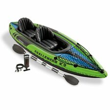 2 Person Inflatable Kayak Set with Aluminum Oars and High Output Air Pump New