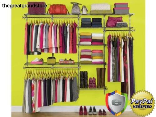Custom Closet Organizer Kit Rubbermaid Deluxe Configurations 4 to 8 Foot White
