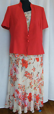 Jacques Vert PIMENTO RANGE RED LEAF PRINT CREAM DRESS  PIMENTO RED JACKET R1L