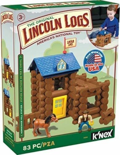 K/'NEX 00848 83 Pieces Lincoln Logs Horseshoe Hill Station Building Set