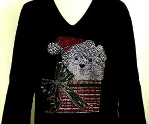 X-LARGE-Hand-Embellished-Rhinestone-Christmas-Puppy-Dog-Bow-Package-Top-Shirt
