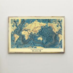 Map-Ocean-Floors-amp-Lands-Relief-Old-Map-Canvas-Print-Vintage-Poster-Wall-Decor
