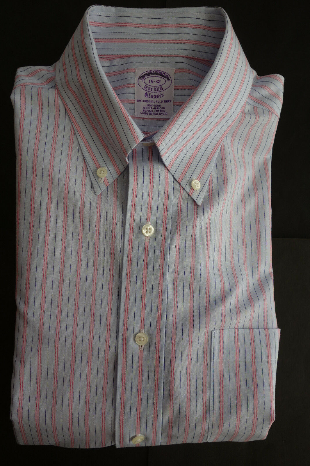 NWOT Brooks Bredhers Non Iron bluee Pink Supima Cotton Button Down 15-32 MSRP