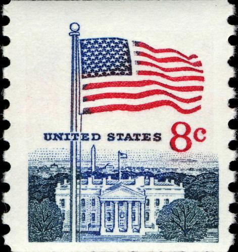 1968 8c Flag & White House, Coil Scott 1338g Mint F/VF