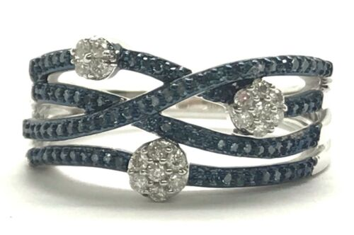 Sterling Silver Elegant Blue Diamond Pave Wave Crossover Flower Band Ring Size 7
