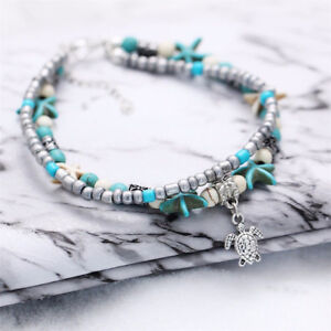 e7f8d36a1a59c6 Image is loading 1pc-Boho-Starfish-Turquoise-Beads-Sea-Turtle-Anklet-