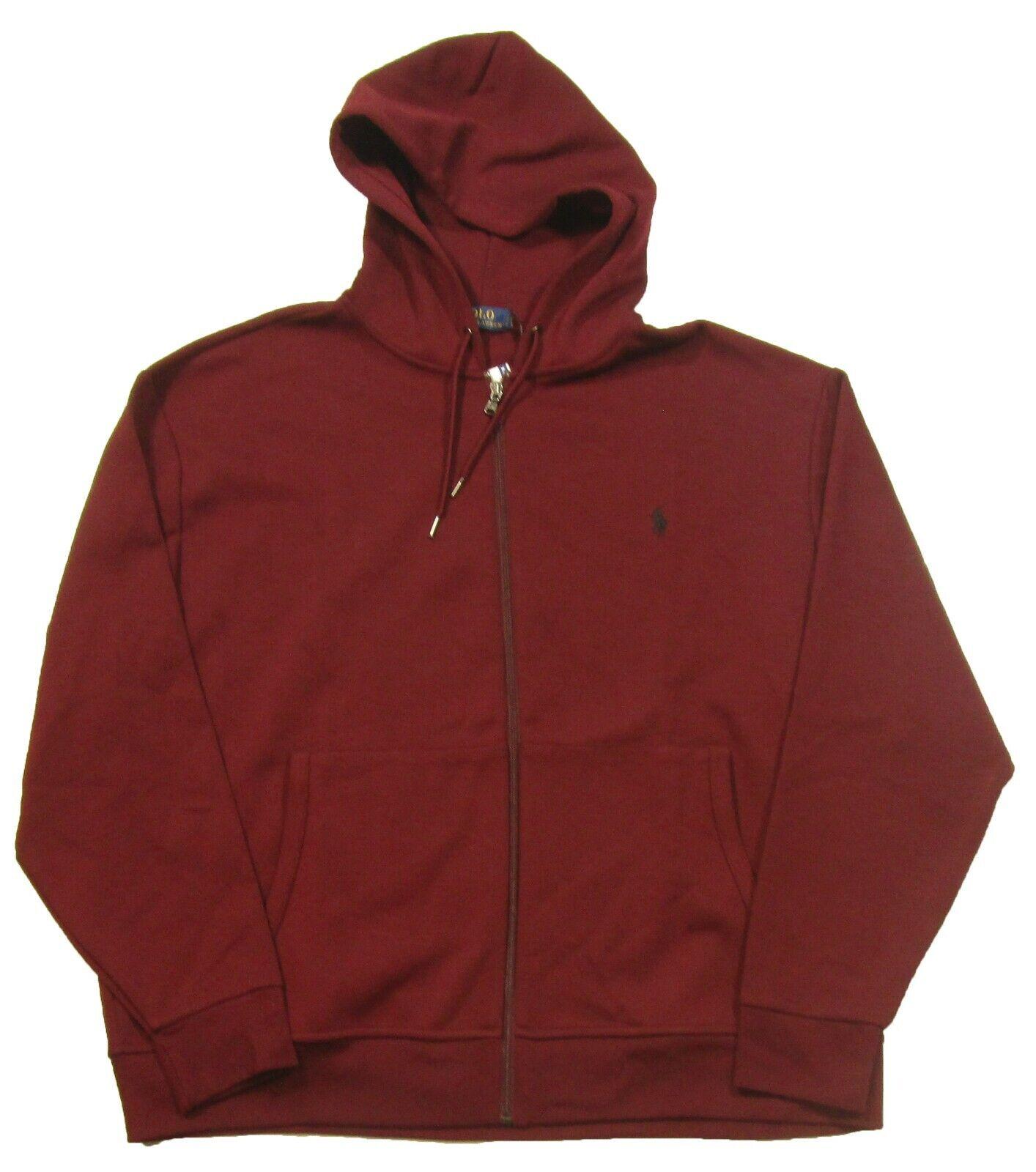 Polo Ralph Lauren Big & Tall Men's Burgundy Red Double Knit Full Zip Hoodie