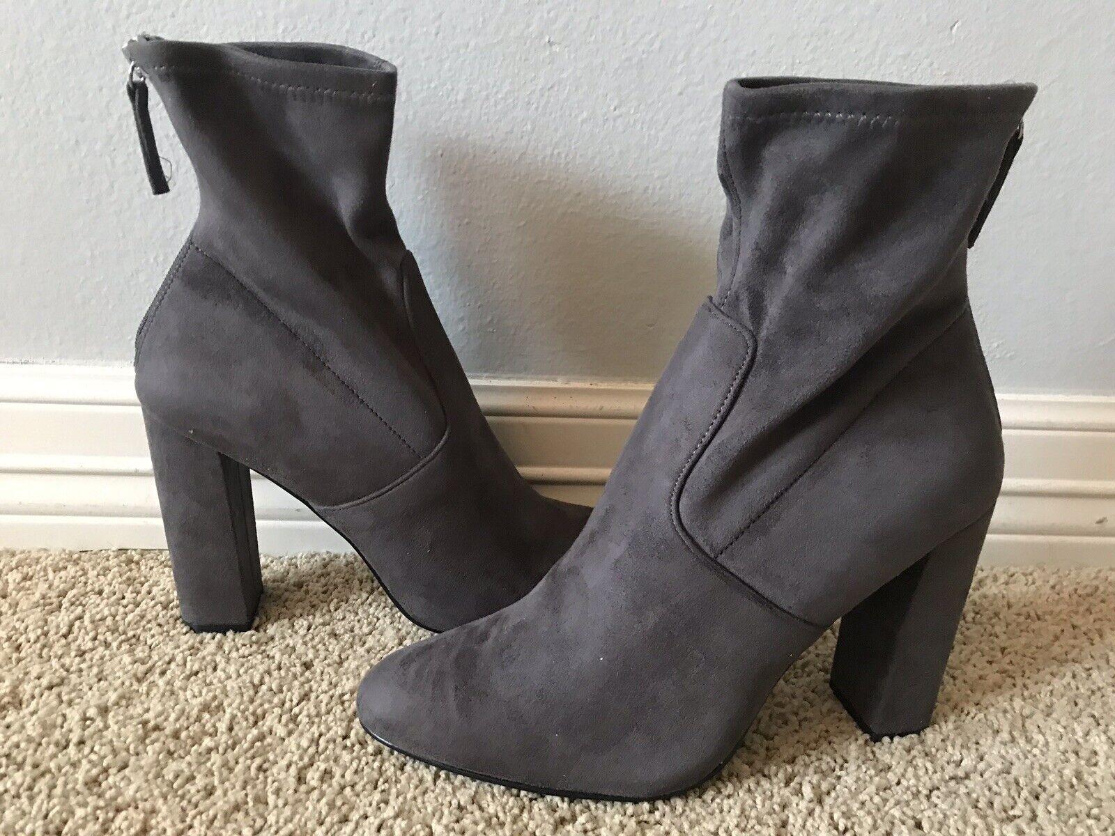 New STEVE MADDEN Women's Brisk Grey Micro Suede Boots Sz 10