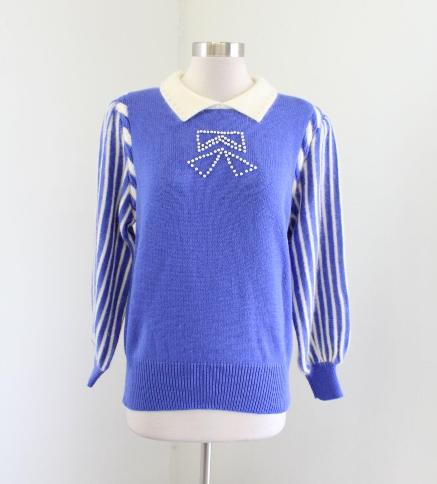 NWT Vtg 90s bluee Purple Cream Bow Pearl Beaded Angora Wool Sweater Size M Retro