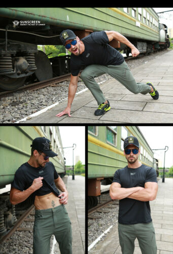 Mens Combat T-Shirt Short Sleeve Shirt Breathable Military Tactical Casual Camo