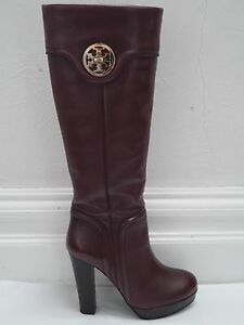 ab4237bf8743e TORY BURCH wine leather gold logo detail platform heeled knee high ...