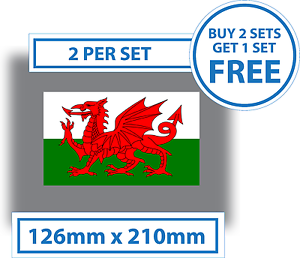 2 x Welsh Drapeau Autocollants National Dragon Gallois Autocollant Voiture Pare-chocs Van Camion Vinyle