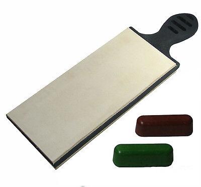 Multifonctionnel DIY Craft Leather Polish Aff/ûtage Strop Cuir Paddle Strop Double Face Aff/ûteur de Cuir avec Manche en Bois