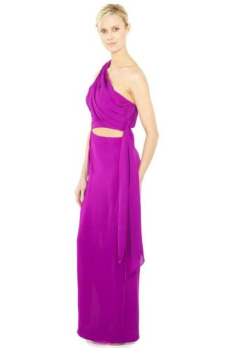Halston Heritage Sarong Cut Out Long Dress Fuchsia silk gown Slit wrap Pink NEW