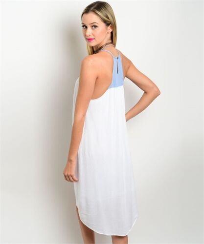 S L White Light Blue Embroidered Hi-Low Hemline Summer beach Casual Dress M