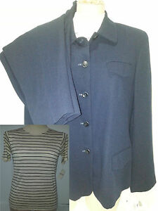 NWT-GIANNI-Womens-3-Piece-Pants-Suit-Blazer-Jacket-Blouse-Top-Sz-14-Petite-Blue