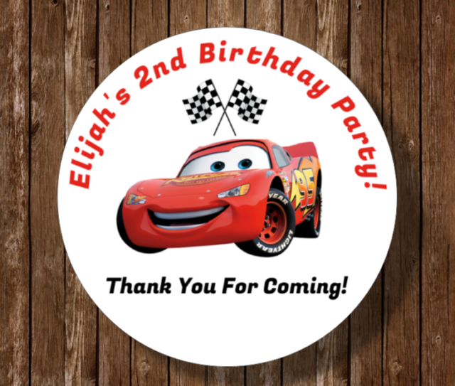 Birthday Favors Stickers Personalized Thank You Stickers Goodie Bag Stickers Cars