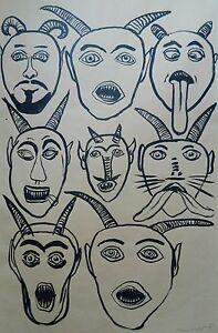 ReDUCED-ORIGINAL-INK-BRUSH-DRAWING-OF-8-Horned-DEVILS-SIGNED-1993-26-034-x38-034