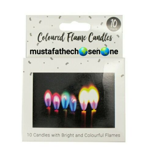 10 X CANDLES COLOURED ANGEL FLAMES COLOURED PARTY CANDLES NEON COLOURS