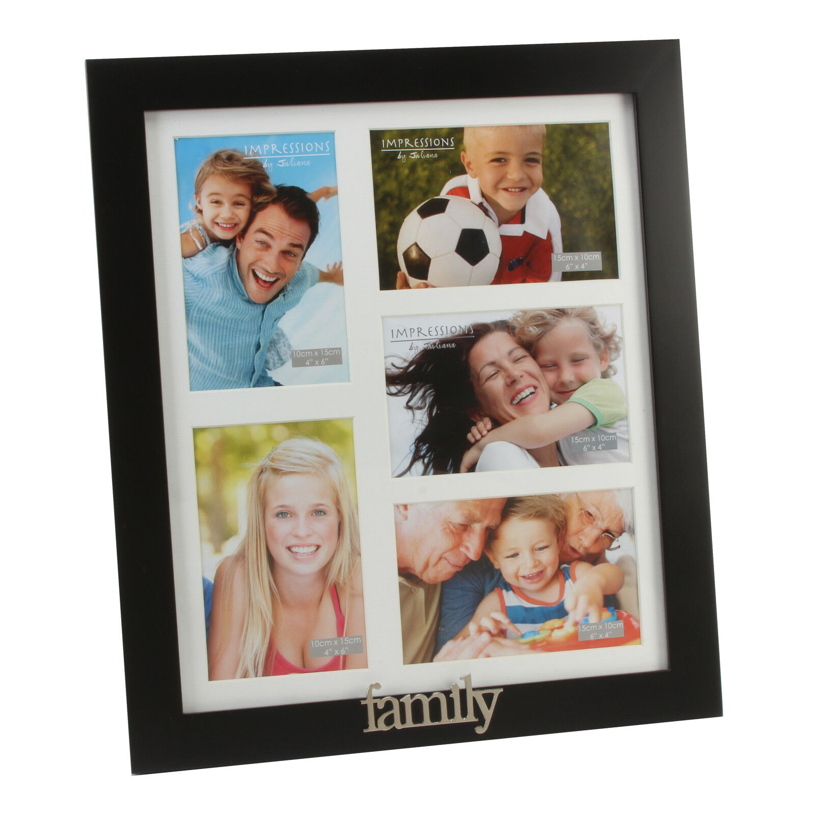 Personalised Black Wooden multi aperture 5 space frame with metal letters FW401