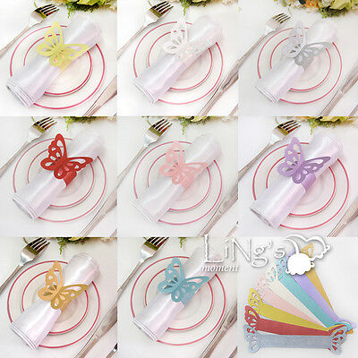 Butterfly Paper Napkin Ring Wedding Party Shower Favor Decoration 8 Colors Upick