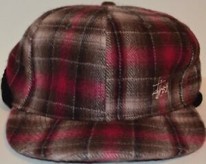 497df329eb3 Image is loading Stussy-Baseball-Cap-Plaid-Size-S-M-Red-Brown-