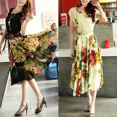 Fashion Summer Women Casual Elegant Floral Short Sleeve Bandage Chiffon Dress AA