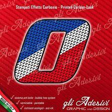 Adesivo Stickers NUMERO 0 moto auto cross gara Carbon Effect Blu White Red 5 cm