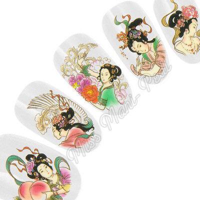 Nail Art Water Transfers Decals Stickers Wrap Japanese Geisha Girl Oriental G074