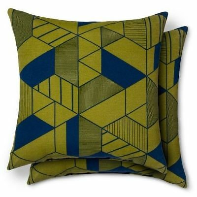 New! Set Of 2 Modern Dwell Indoor/Outdoor Patio Pillow, Geometric Green U0026  Blue | EBay