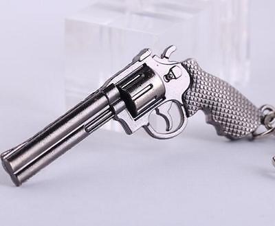Revolver Pistol Weapon Mini Gun Model Metal Keyring Keychain Key Ring Chain
