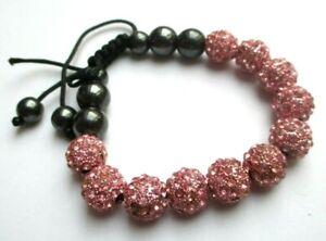 Humour Bracelet Cordelette Noire Réglable Perles Hématite Et Rose Cristaux Bijou 2336